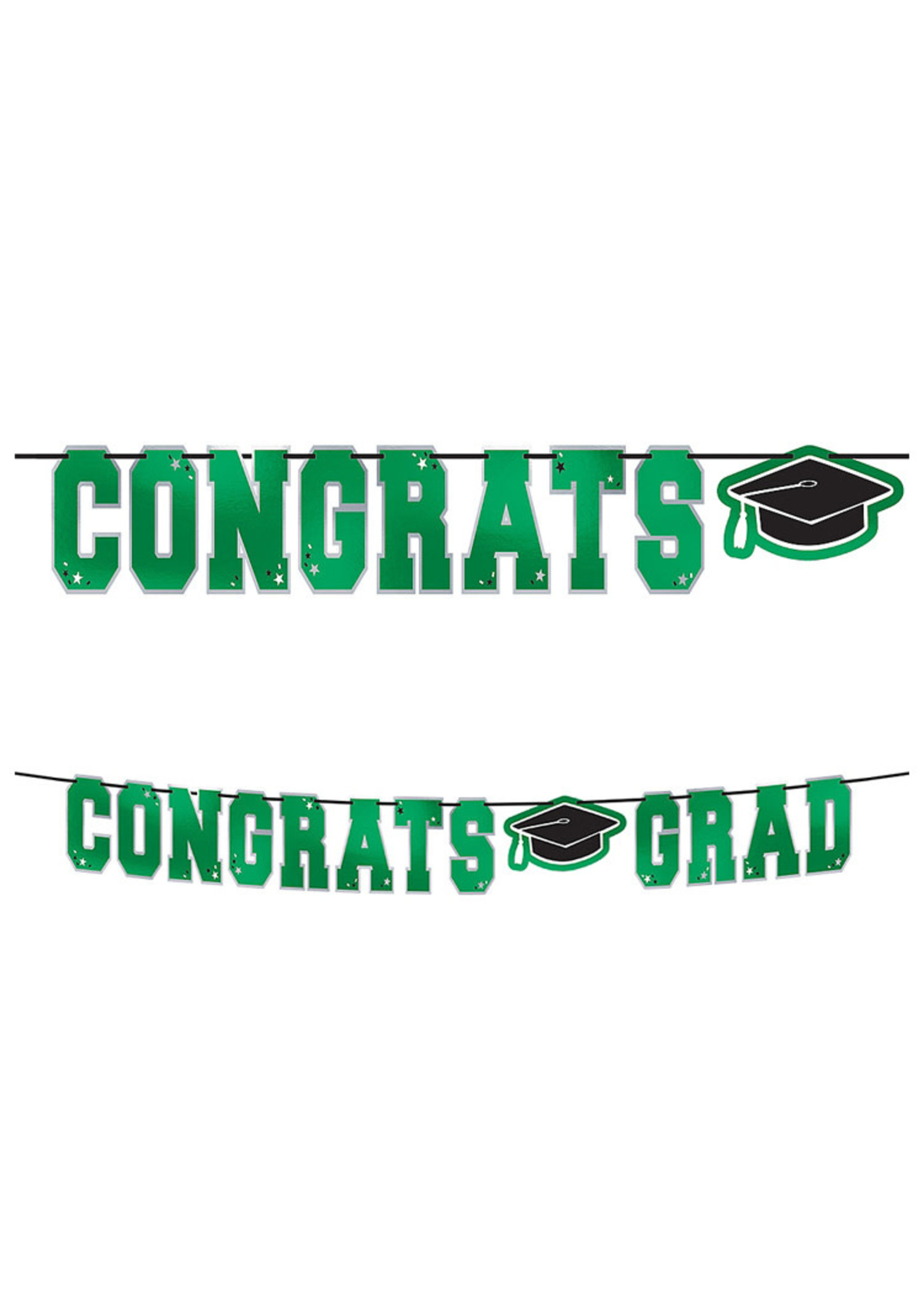 Green Congrats Grad Letter Banner