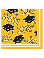 Creative Converting Class Of 2021 Beverage Napkin, Yellow - 36ct