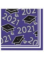 Creative Converting Class Of 2021 Beverage Napkin, Purple - 36ct