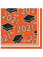 Creative Converting Class Of 2021 Beverage Napkin, Orange - 36ct