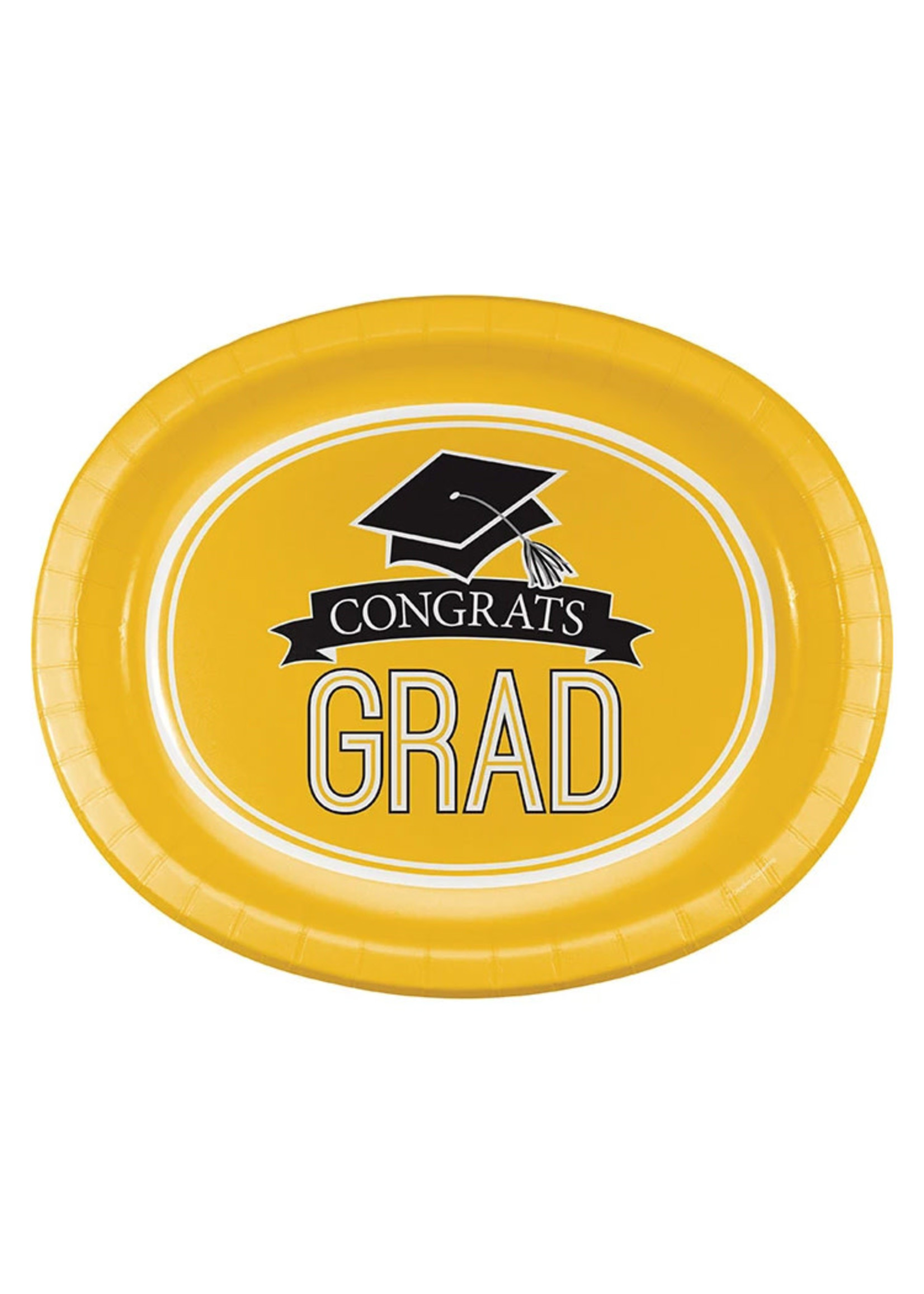 "Creative Converting Yellow Grad Oval Platters, 10"" X 12"" - 8ct"