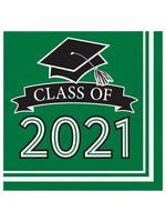 Creative Converting Class Of 2021 Luncheon Napkin, Green - 36ct