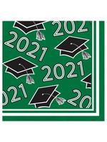Creative Converting Class Of 2021 Beverage Napkin, Green - 36ct
