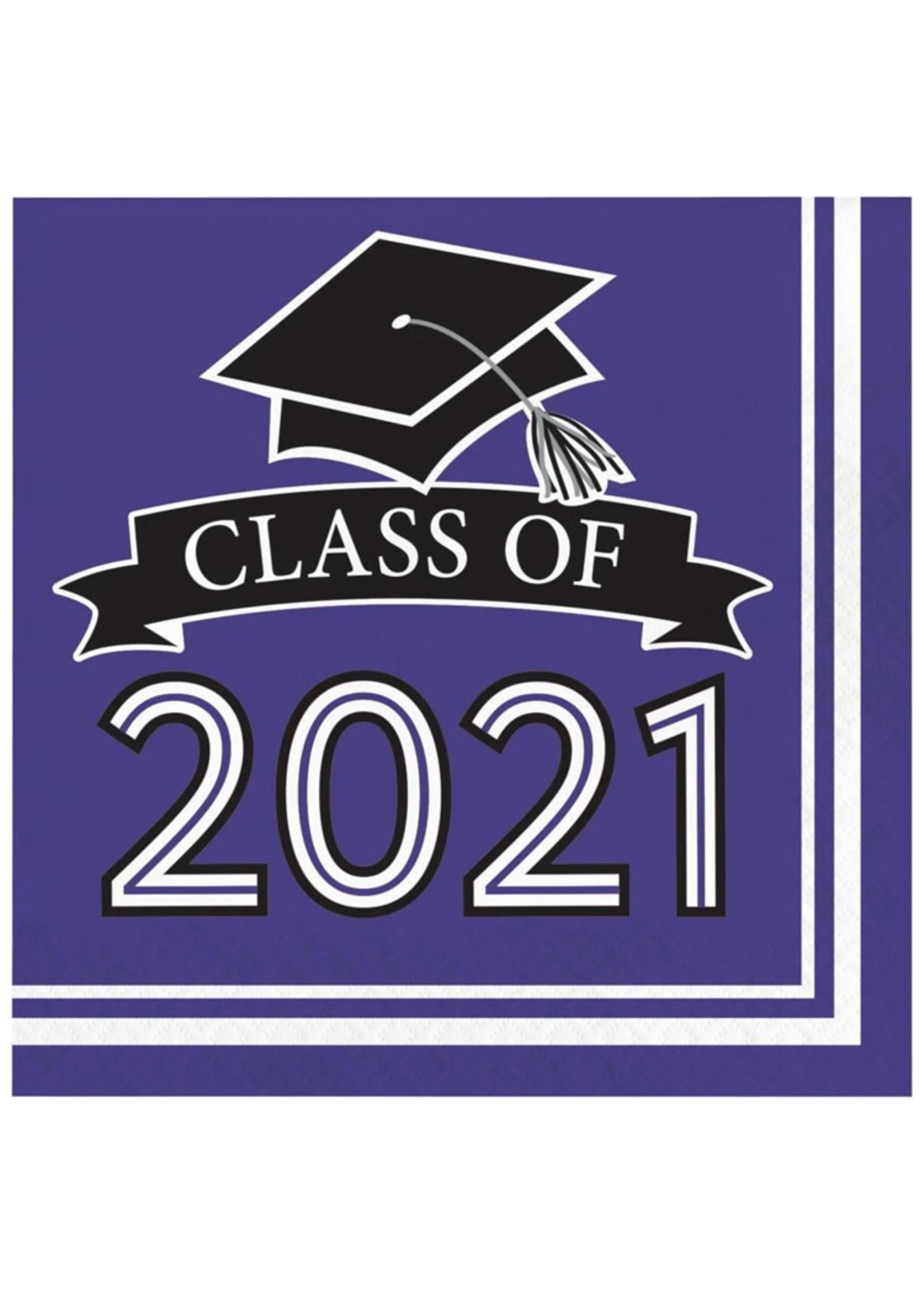 Creative Converting Class Of 2021 Luncheon Napkin, Purple - 36ct