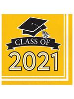 Creative Converting Class Of 2021 Luncheon Napkin, Yellow - 36ct