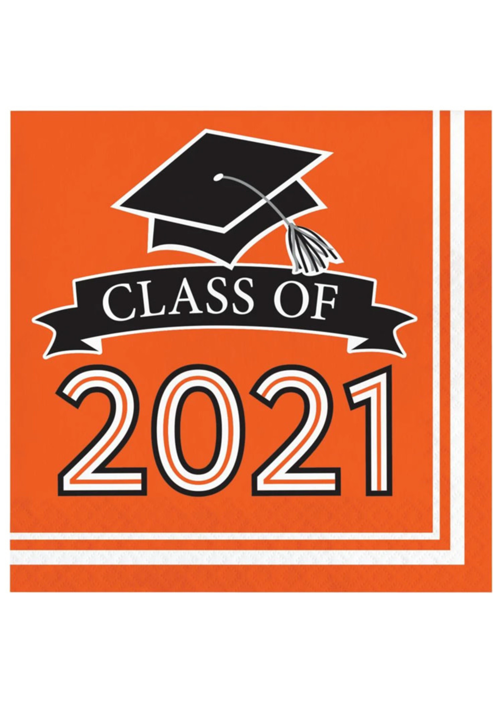 Creative Converting Class Of 2021 Luncheon Napkin, Orange - 36ct