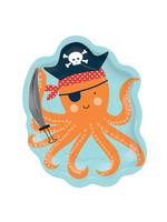 """Ahoy Birthday Octopus Shaped 7"""" Plates"""