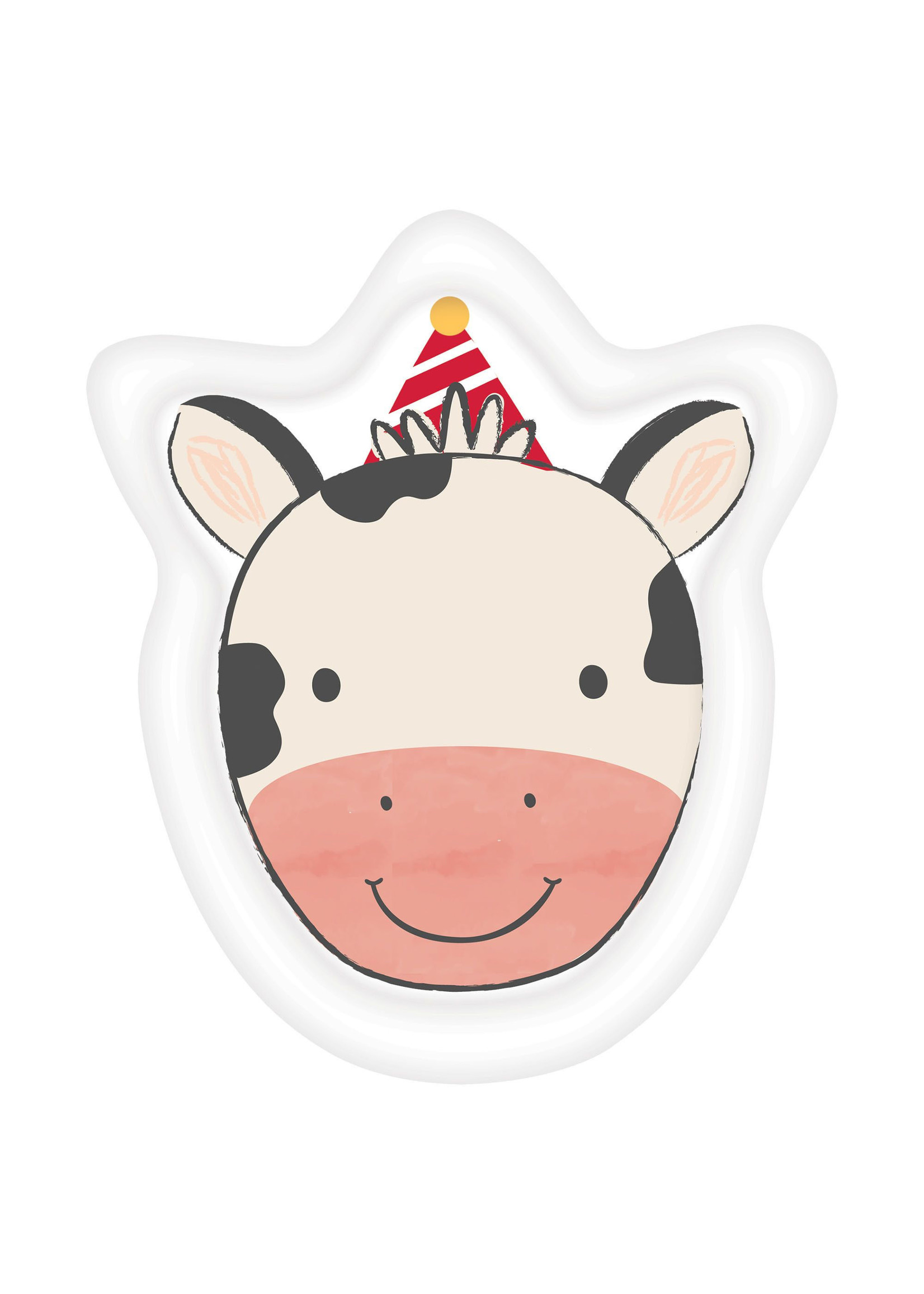 "Barnyard Birthday Cow Shaped Plates, 7"" - 8ct"