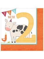 Barnyard Birthday Luncheon Napkins - 2nd Birthday - 16ct