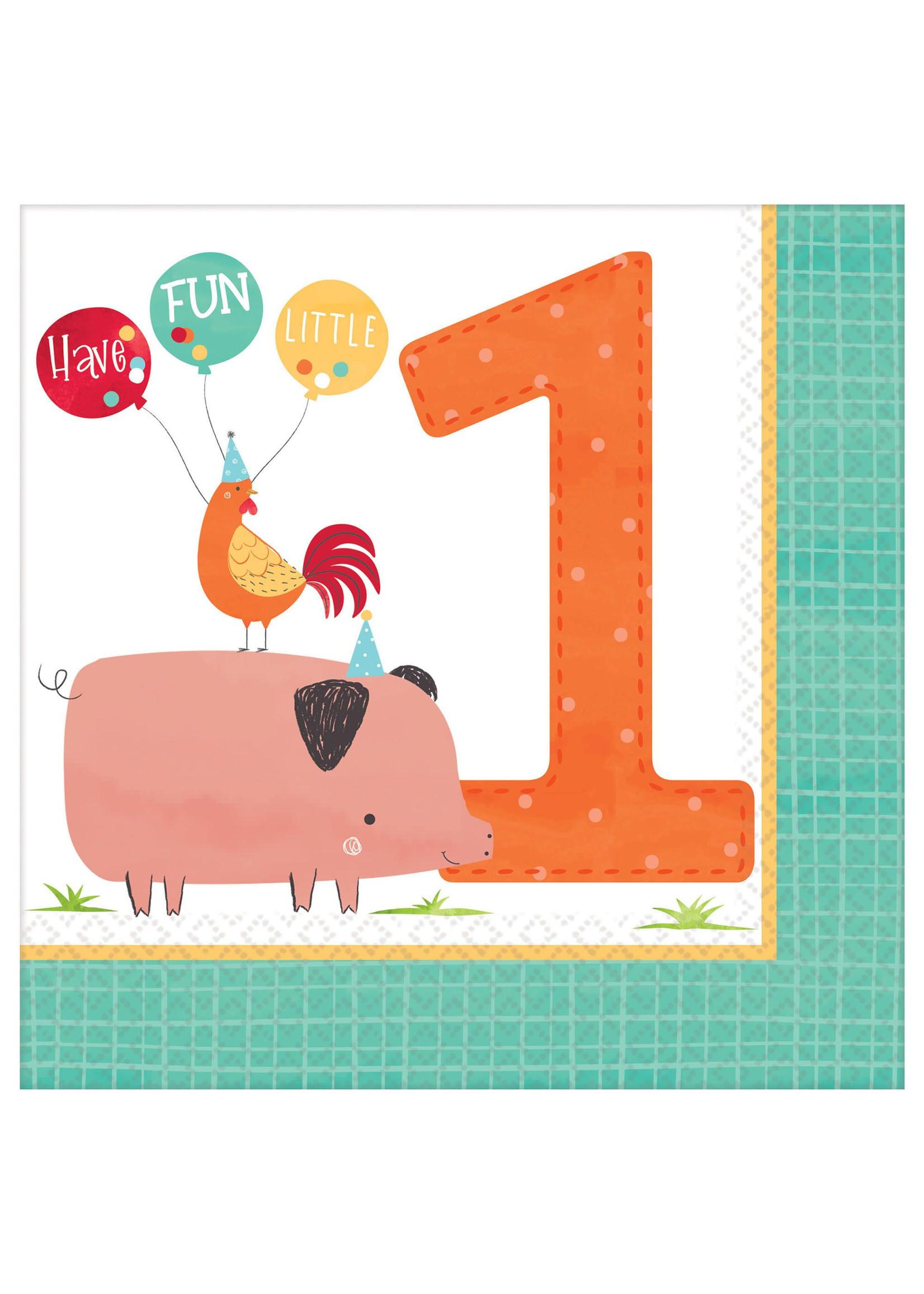Barnyard Birthday Luncheon Napkins - 1st Birthday - 16ct