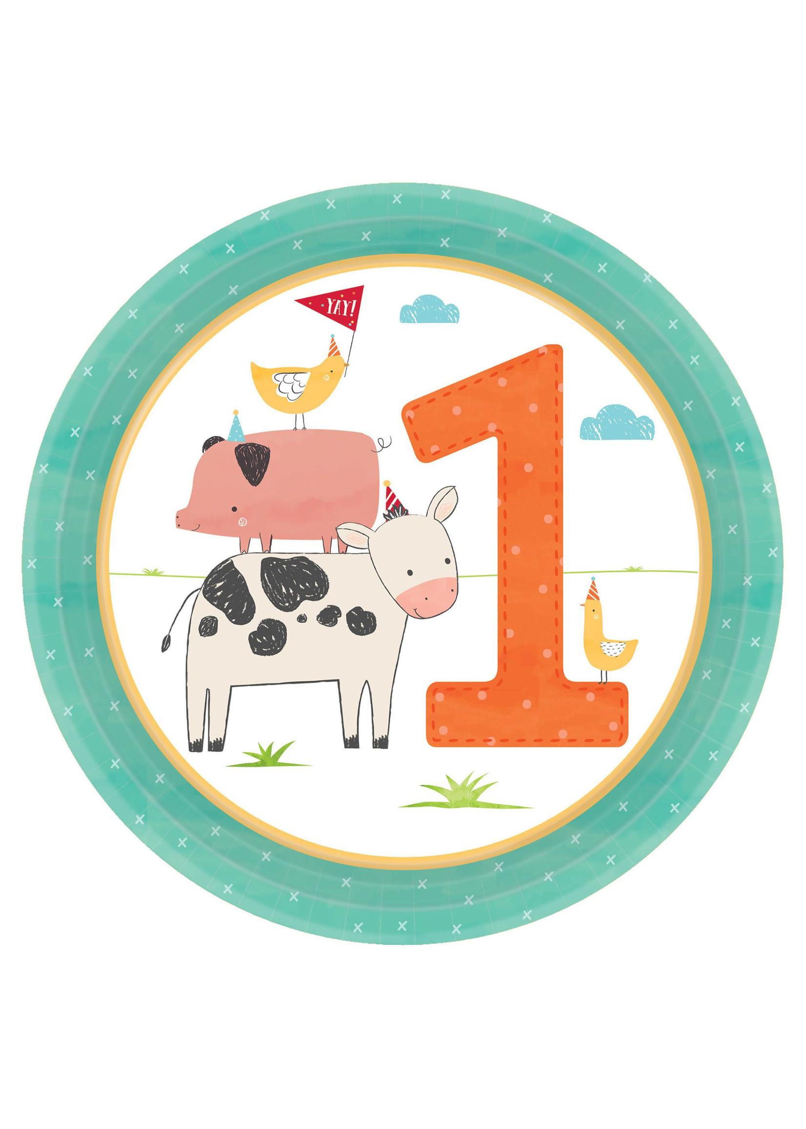 """Barnyard Birthday Round Plates, 7"""" - 1st Birthday - 8ct"""