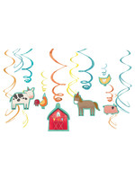 12CT Barnyard Birthday Value Pack Foil Swirl DecorationsBARNYARD BDAY
