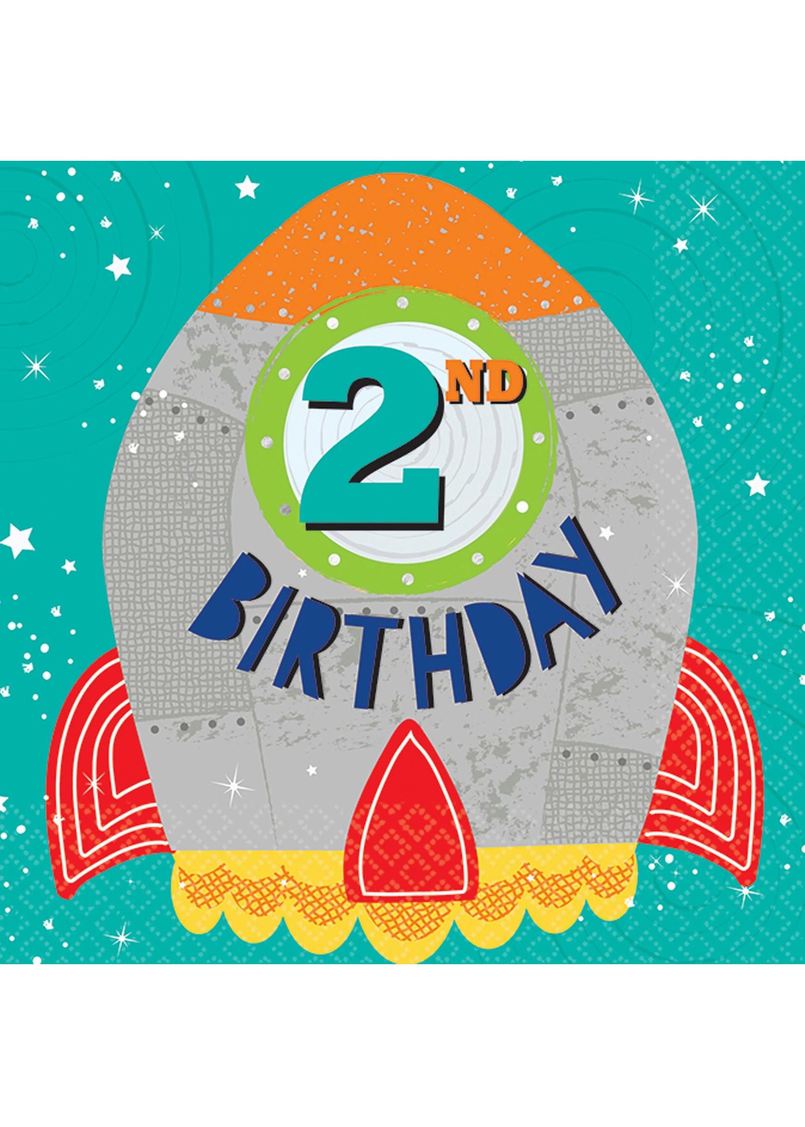 Blast Off Birthday Luncheon Napkins - 2nd Birthday
