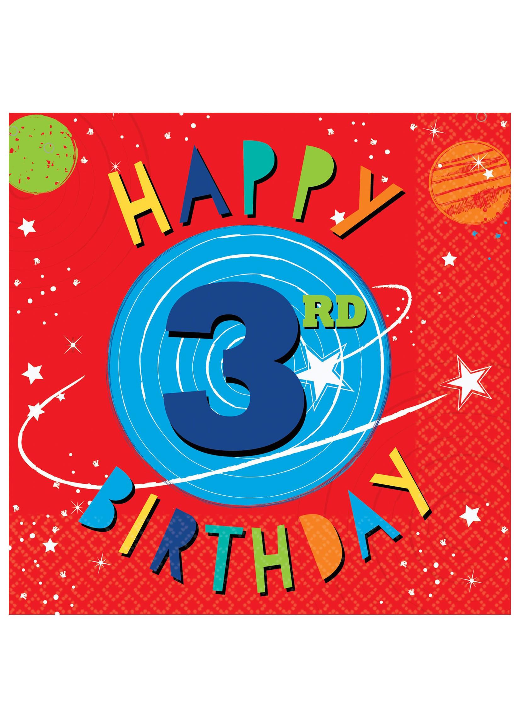 Blast Off Birthday Luncheon Napkins - 3rd Birthday - 16ct