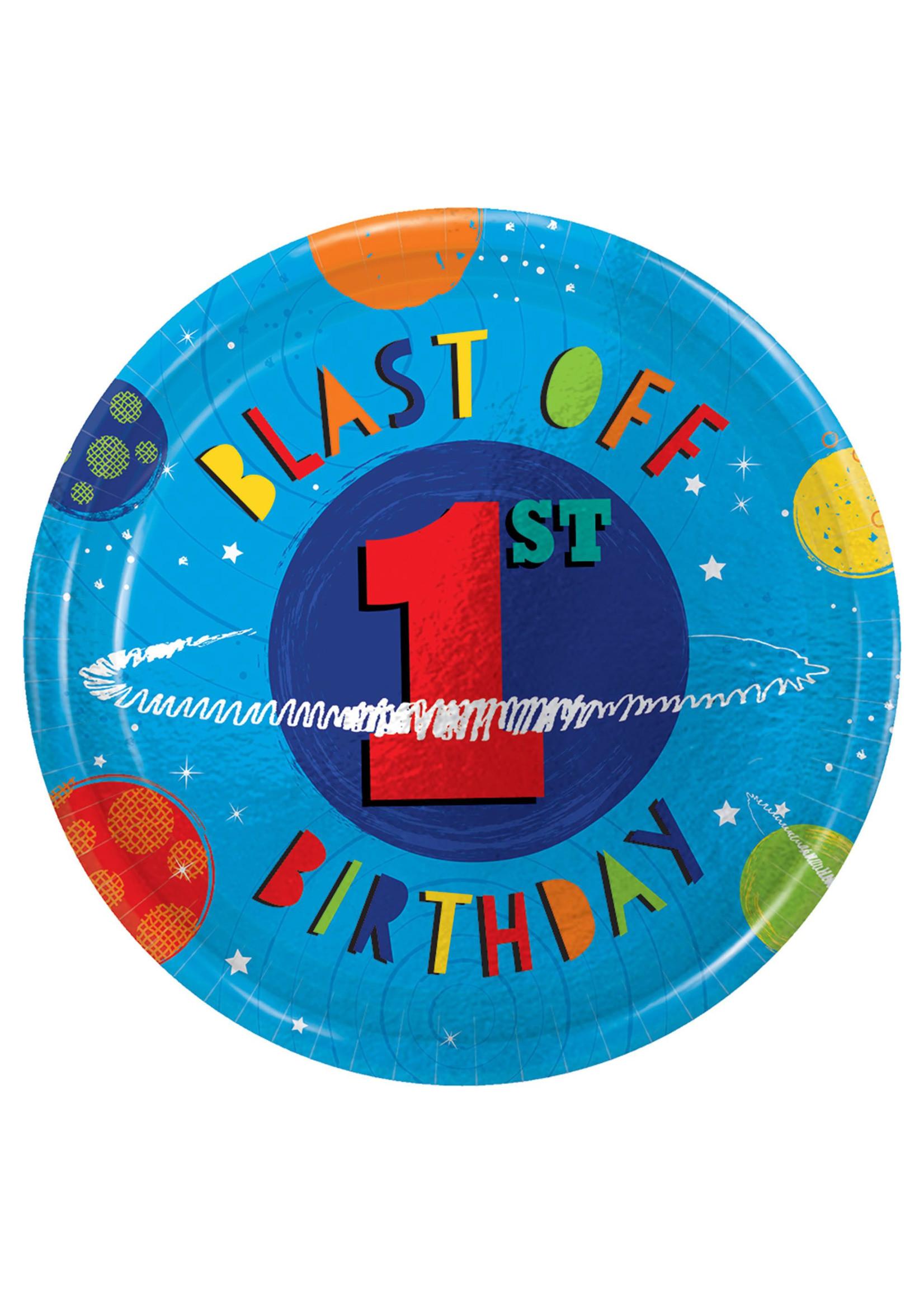 "Blast Off Birthday Round Metallic Plates, 7"" - 1st Bday"