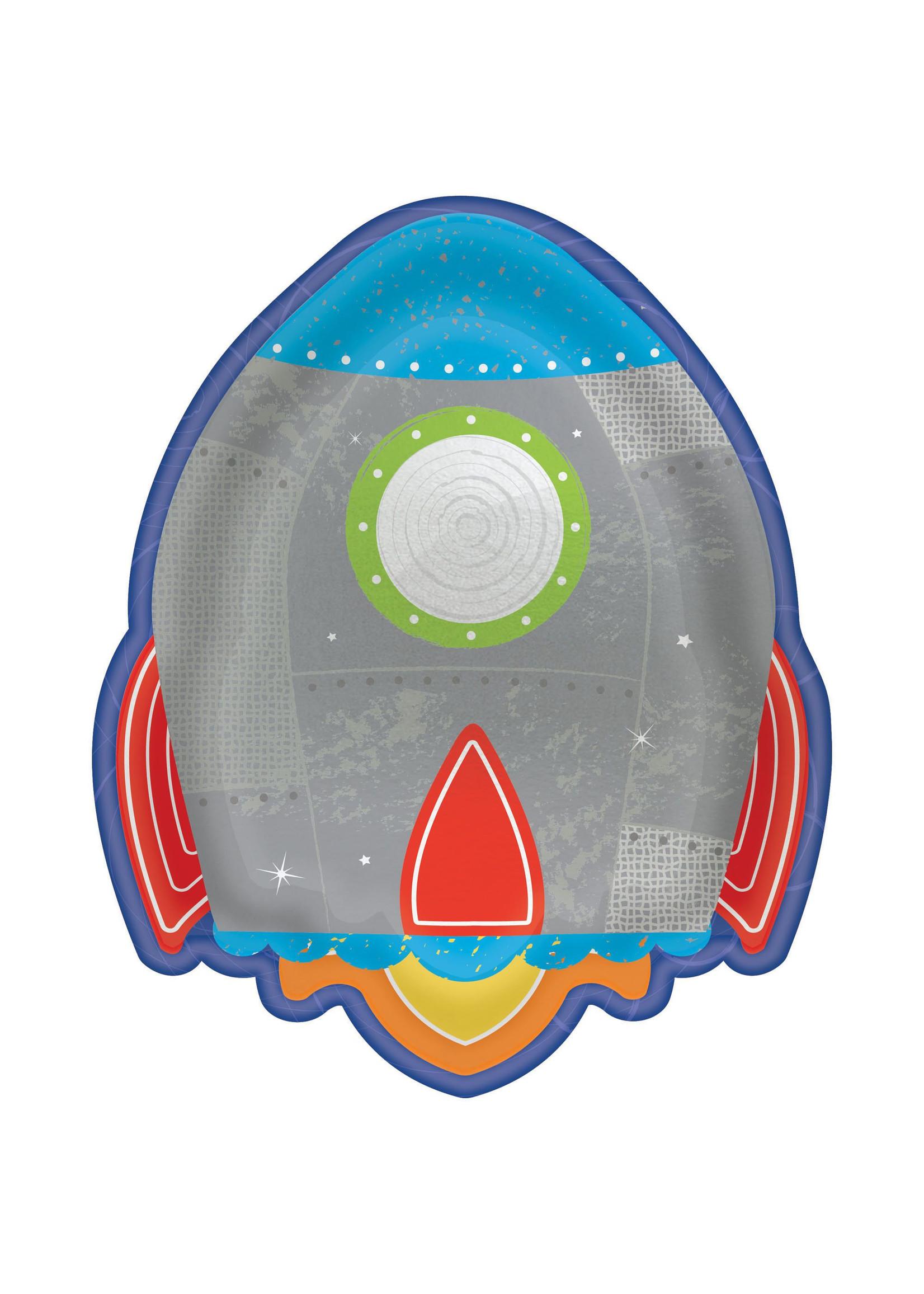 "Blast Off Birthday Rocket Shaped Plates, 7"" - 8ct"