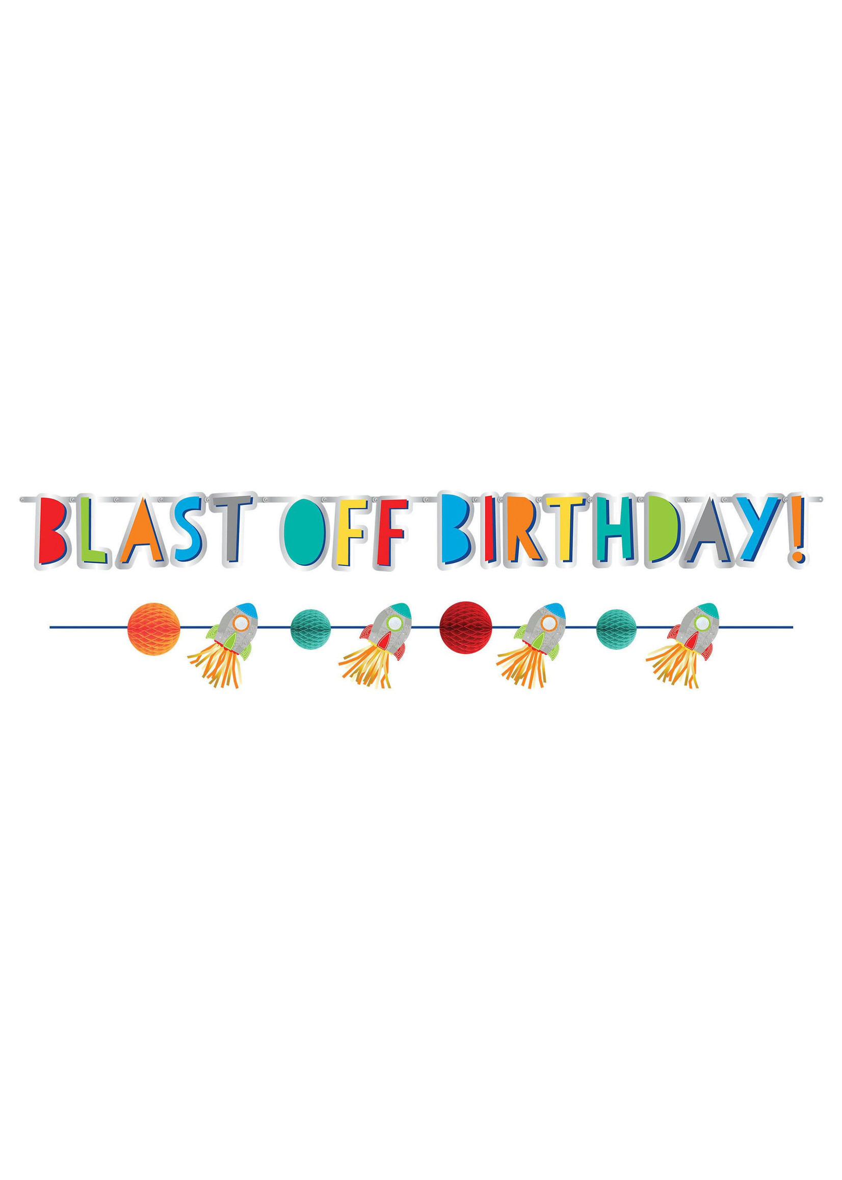 Blast Off Birthday Banner Kit - Printed Paper -2ct