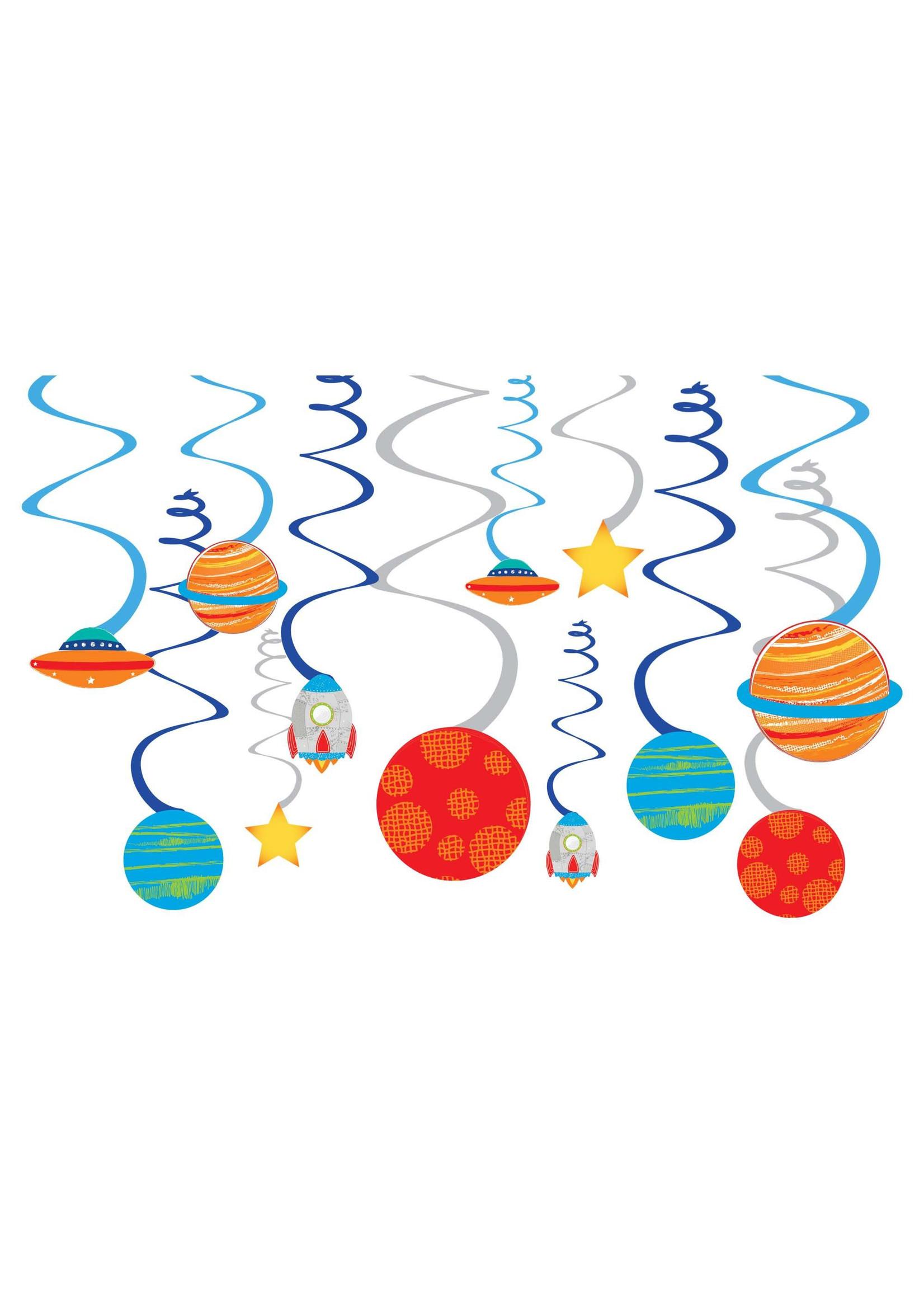 Blast Off Birthday Value Pack Foil Swirl Decorations - 12ct