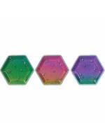 "Sparkle 7"" Prismatic Hexagonal Plate Assorted - 8ct"