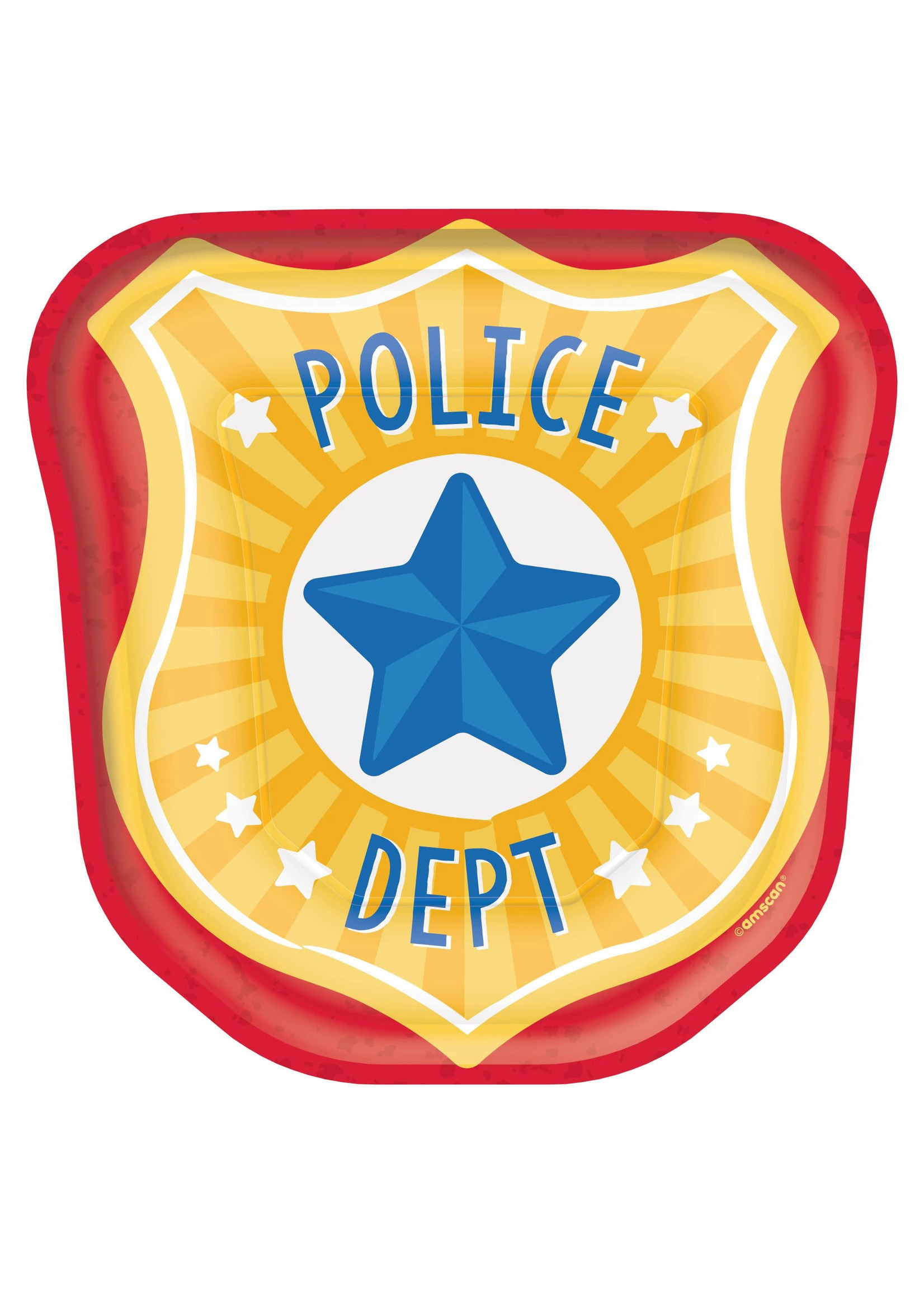 """7"""" Police Badge Shaped Plates - 8ct"""