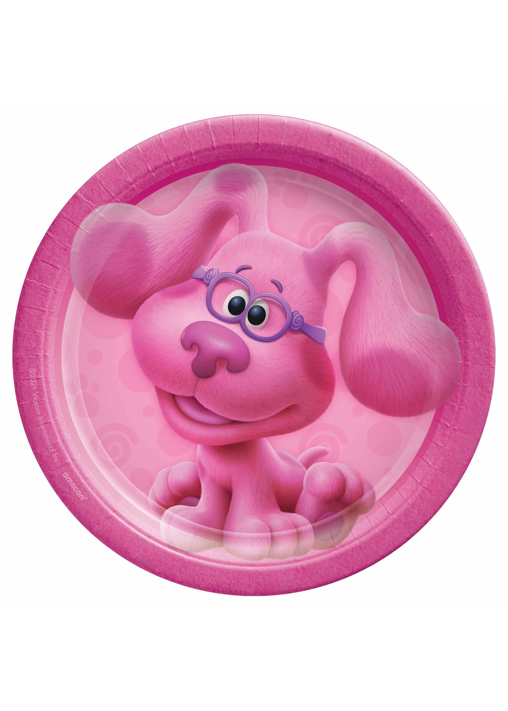 """Blues Clues 7"""" Round Plates - Pink - 8ct"""