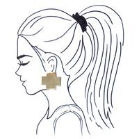 Earring|Large Solid Brass Cross