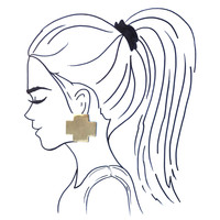Ink + Alloy Earring Large Solid Brass Cross