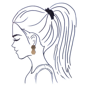 Ink + Alloy Earrings|Small Brass Post|Double Hex