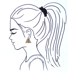 Ink + Alloy Earring|Small Brass Bar Posts|Triangle