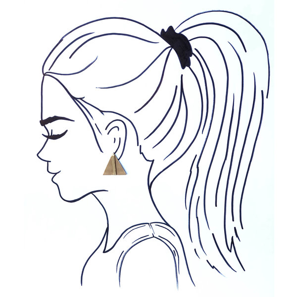 Ink + Alloy Earrings | Small Brass Bar Posts | Triangle