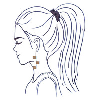 Ink + Alloy Earrings | Brass Hook With Squares