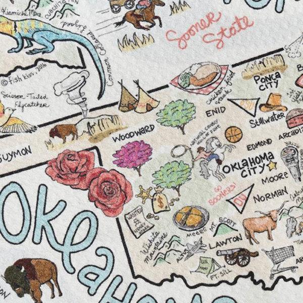 Fish Kiss Tea Towel | Oklahoma Map