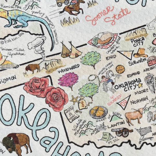 Tea Towel | Oklahoma Map