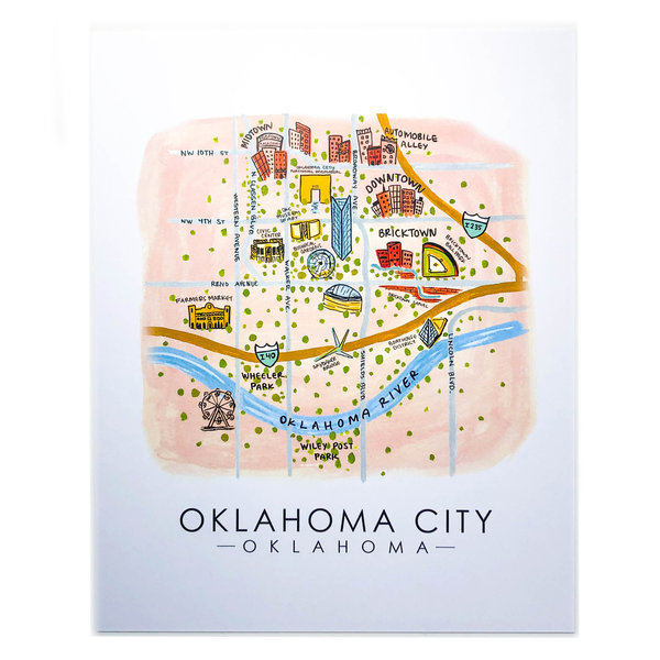 Sugar Mint Art Print |  OKC Map | 8x10