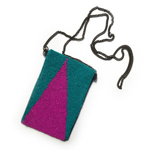 Ink + Alloy Bag | Beaded Crossbody | Triangle Teal+Magenta