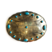 J. Alexander Rustic Silver Stamped Box | Silver Oval | Turquoise