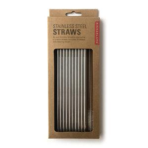 Kikkerland Straws | Stainless Steel | Set/10