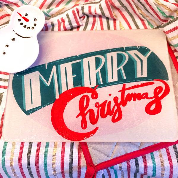 Plenty Made Glass Cutting Board   Merry Christmas