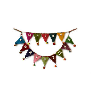 "Creative Co-Op Felt Flag Banner | Merry Christmas Multicolor | 30"" Long"