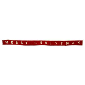 "Creative Co-Op Felt Banner | Merry Xmas | Red+White | 72"""