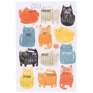Now Designs Tea Towel | Purrfect Year Calendar 2020