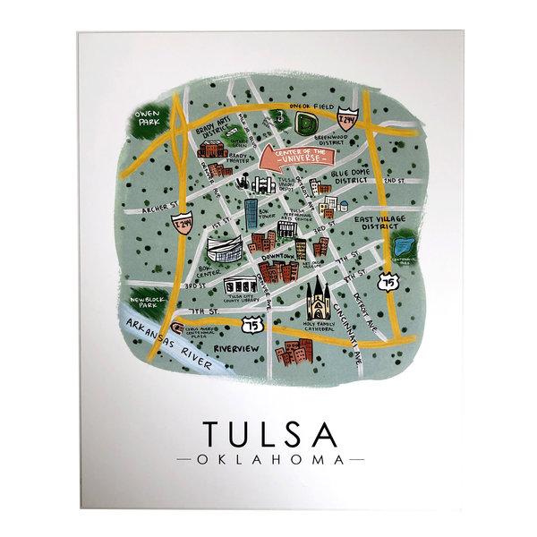 Sugar Mint Art Print | OK Map | Tulsa