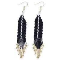 Ink + Alloy Earrings   Fringe Black Ivory Single Stripe