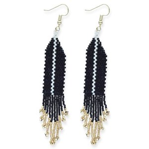 Ink + Alloy Earrings | Fringe Black Ivory Single Stripe