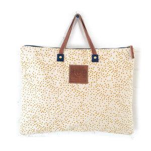 Erin Flett Folder Bag | Gold Polka Dots