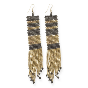 "Earring | Seed Bead | 5"" Long Stripe 