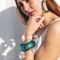 Ink + Alloy Geometric Bangle  | Lucite | Turquoise