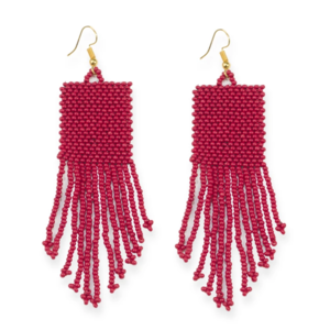 Ink + Alloy Earring | Seed Bead Solid | Red