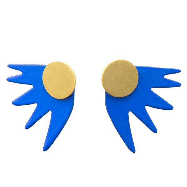 """Earring   1""""   2-Piece Burst Post   Cobalt"""
