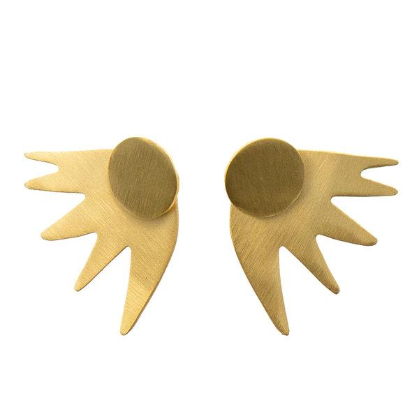 "Ink + Alloy Earring | 1""|  2 PC Burst Post | Brass"